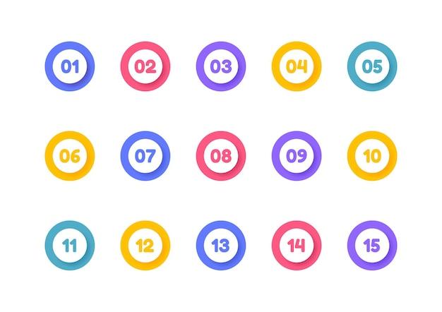 Super eingestellter aufzählungspunkt. bunte markierungen mit einer nummer von 1 bis 15.