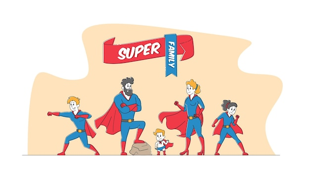 Super familienkonzept. mama, papa und kinder in superheldenkostümen posieren