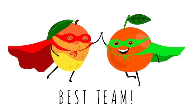 Super früchte. lächelnde fruchtsuperheldenillustration. bester team niedlicher druck lokalisiert auf weiß