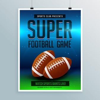 Super-fußballspiel flyer vorlage