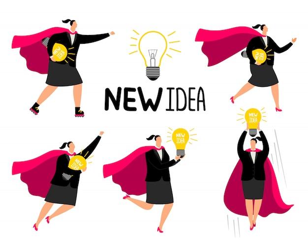 Super geschäftsfrau neue idee symbole