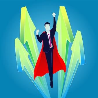 Super geschäftsmann fliegt hoch, geschäftswachstumskonzept, aufstieg des erfolgreichen geschäfts, aufwärtspfeile