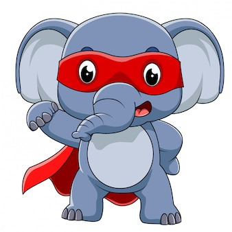 Super hero elephant cartoon der illustration