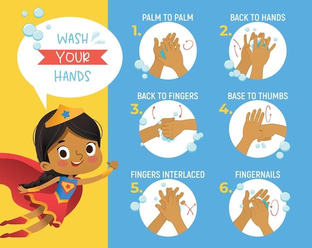 Super hero gorl zeigt, wie man sich die hände wäscht schrittplakat infografik-illustration