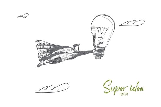 Super ideenkonzept. hand gezeichneter superheld mit großer glühbirne in der hand. fliegender mann hält birne als symbol der neuen besten idee isolierte illustration.
