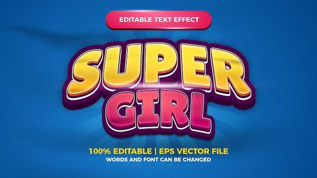 Super mädchen bearbeitbarer texteffekt für cartoon-comic-spieltitel-stilvorlage style