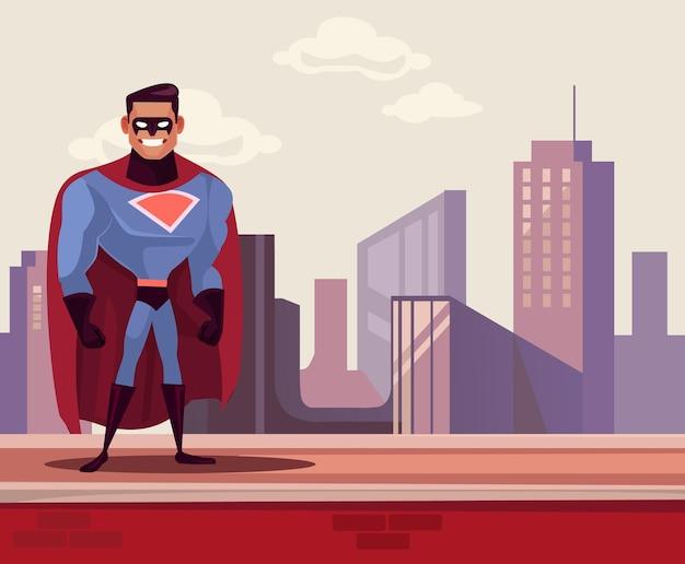Super-mann-heldenfigur, die auf dachkarikaturillustration steht standing