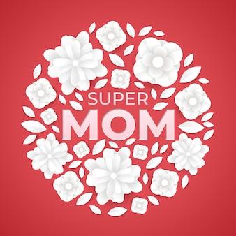 Super mom flower illustration