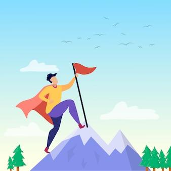 Super person auf mountain peak erfolgs motivation