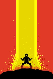 Super power man lädt im anime-stil auf