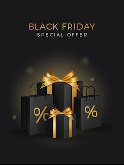 Super sale am black friday. schwarze geschenkboxen. goldener text