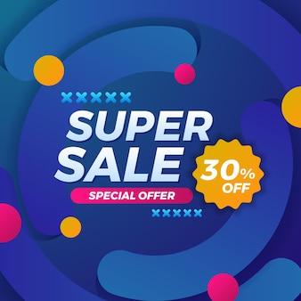 Super sale angebot promotion rabatt social media karten banner vorlage mit blauem abstraktem hintergrund
