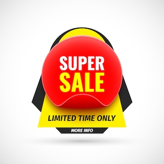 Super sale banner. aufkleber. illustration. Premium Vektoren
