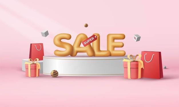Super sale-banner-design mit moderner 3d-illustration