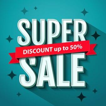 Super sale banner design vorlage. super sale inschrift. illustration