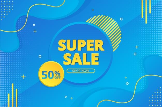 Super sale banner mit abstraktem farbverlauf hintergrund