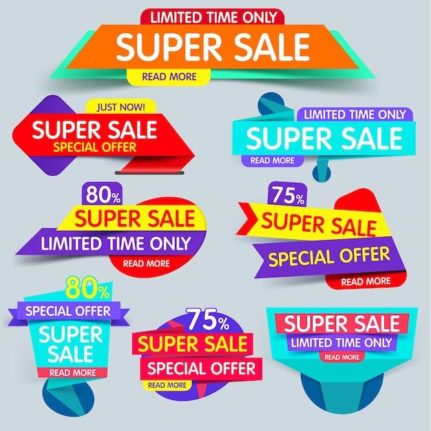 Super sale-banner-set zum verkauf und rabatte