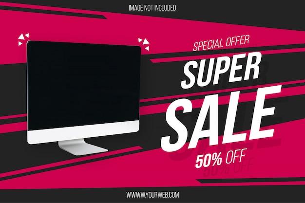 Super sale banner template mit abstrakten hintergrund