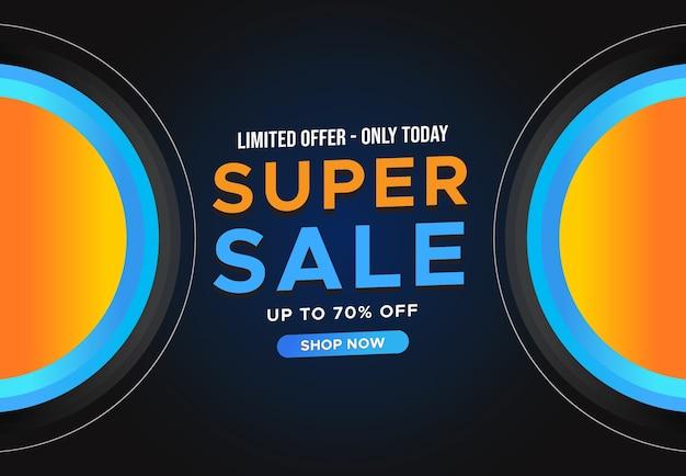 Super sale horizontales banner mit begrenztem angebot