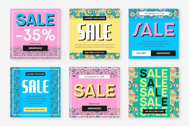Super sale in verschiedenen hintergrundfarben instagram post