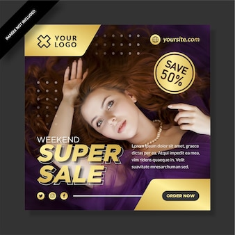 Super sale instagram template design