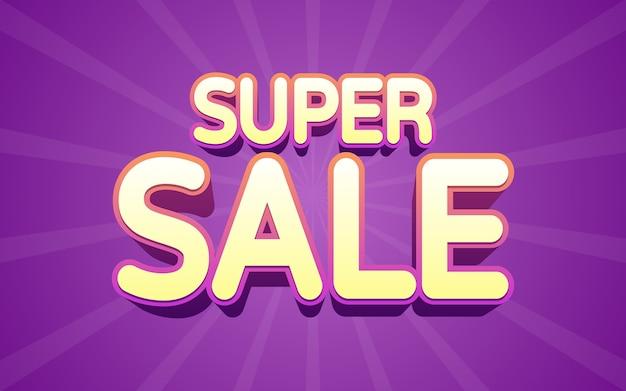 Super sale label 3d-text in neonlicht-farbeffekt
