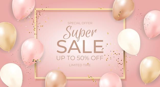 Super sale limited time banner mit luftballons, goldenem rahmen, band und konfetti