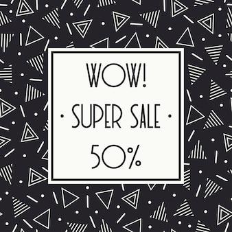 Super sale memphis banner. rabatt bis zu 50% rabatt. jetzt einkaufen. zum halben preis.