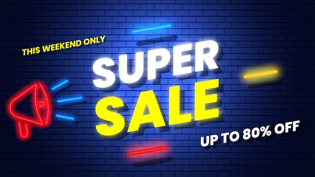 Super sale neon banner. illustration.