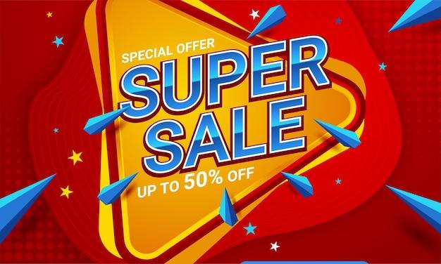 Super sale rote banner-angebotsvorlage