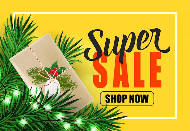 Super sale shop now schriftzug und geschenkbox