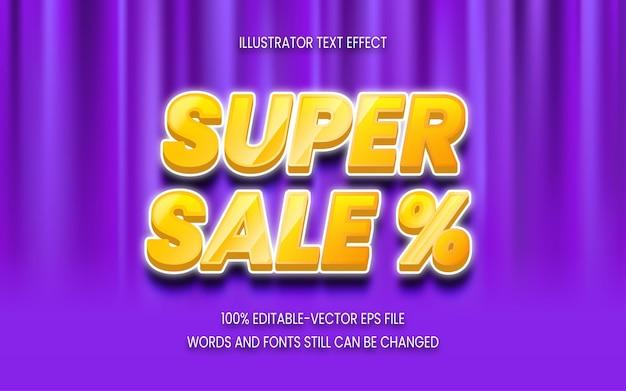Super sale-texteffekt auf hintergrundvorhang