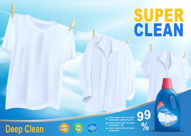 Super sauberes waschen mit neuem reinigungsmittel-vektor