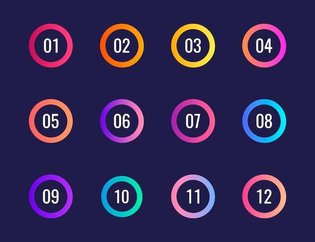 Super set pfeil kugel punkt dreieck flaggen auf dunkelblauem hintergrund. bunte verlaufsmarkierungen mit einer nummer von 1 bis 12.