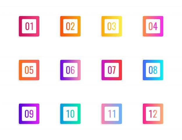 Super set pfeil kugel punkt dreieck flaggen auf weißem hintergrund. bunte verlaufsmarkierungen mit einer nummer von 1 bis 12.