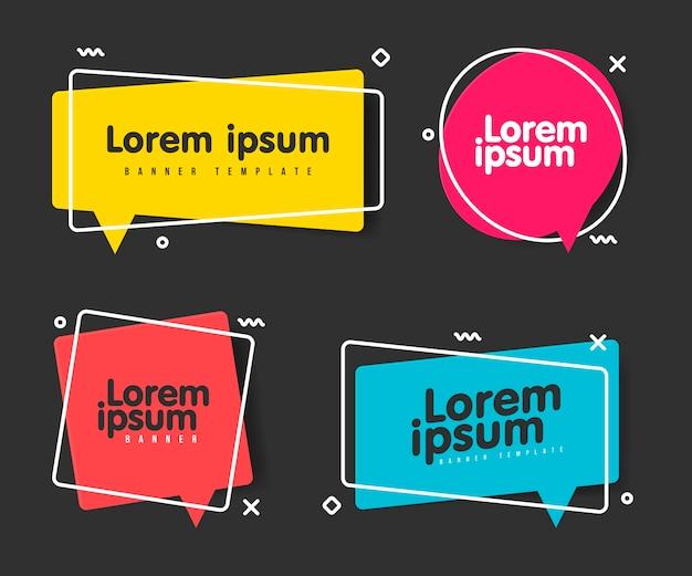 Super set verschiedene form geometrische flache banner. moderne abstrakte formen für verkaufsförderung. moderner flacher stil