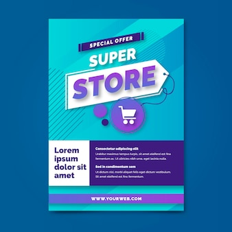 Super store farbverlauf a5 flyer vorlage