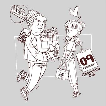 Super süße liebe der fröhlichen romantischen valentinstagspaar-datierungsgeschenk-hand gezeichneten umrissillustration der schokoladentag-linienkunst