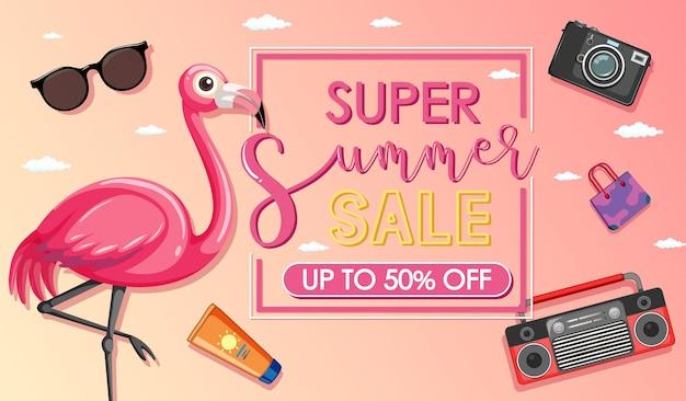 Super summer sale banner mit einem flamingo