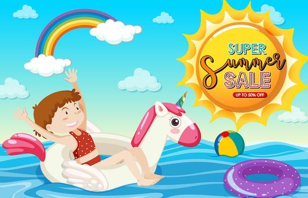 Super summer sale-schrift mit einem mädchen, das auf einem schwimmring-banner liegt