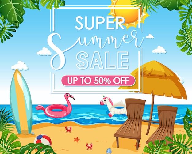 Super summer sale schriftart auf strandhintergrund