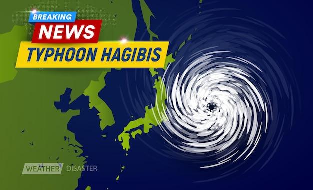 Super taifun hagibis kategorie wolken trichter auf karte in der nähe von japan stärkster taifun in japan