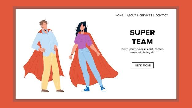 Super-team-mann und frau für save world vector. superhelden-jungen und mädchen mit rotem umhang zusammenbleiben, super-team für hilfe-leute. charaktere erfolg teamwork web flache cartoon illustration
