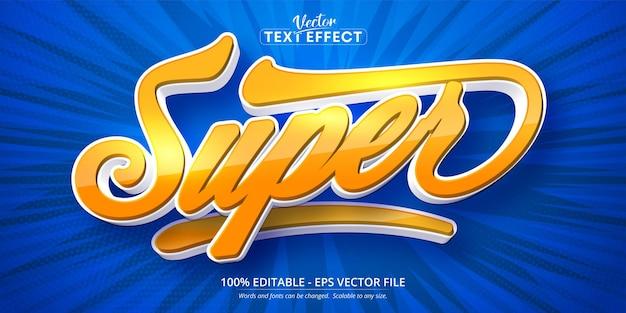 Super text, bearbeitbarer texteffekt im cartoon-stil