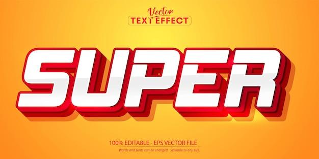 Super text, bearbeitbarer texteffekt im roten farbstil