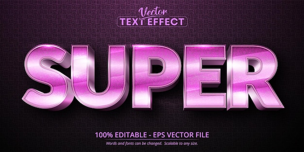 Super text, glänzender rosa farbstil bearbeitbarer texteffekt