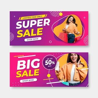 Super-verkaufsbanner mit farbverlauf und foto