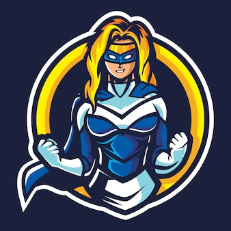 Super woman esport logo illustration