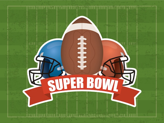 Superbowl sportillustration mit ballon und sturzhelm