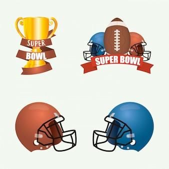 Superbowl-sportillustration mit satzausrüstungselementen